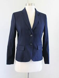Brooks Brothers Womens Red Fleece Solid Navy Blue Wool Blazer Suit Jacket Size 2