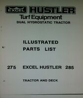 Excel Hustler 275 285 Tractor & Mower Deck Parts & Owner Manuals 80pg (3 Books)