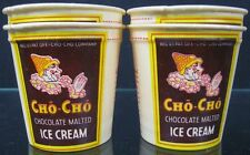 Lot of 4 Vintage 3oz Waxed Paper Cups~Cho-Cho Chocolate Malted Ice Cream LA, CA
