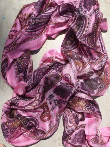 Indian hippy chic boho viscose fine woven scarf //shawl ~pink multi