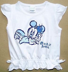 NEU-Disney-Minnie-Mouse-Top-T-Shirt-Shirt-Glitzer-Baumwolle-weiss-80