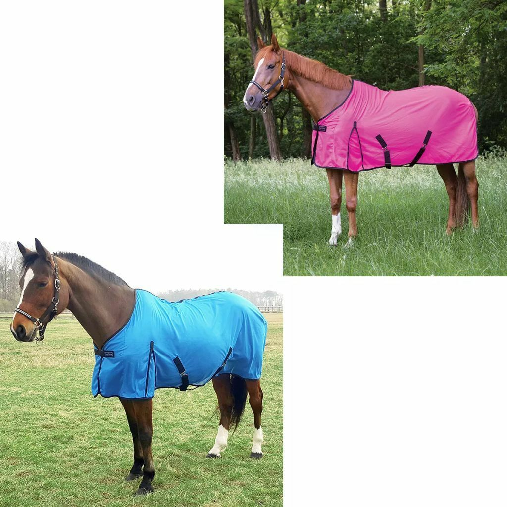 EQUITHÈME Mesh Fly Sheet Eclat Blanket Rug Bright bluee  Neon Pink Multi Sizes