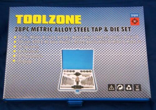 Toolzone 28 Pièce Métrique Robinet Et Die Set Alliage Outil Set Bricolage Garage Atelier