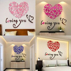 diy 3d mirror acrylic wall stickers love heart home removable decal