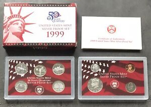 USA-1999-SILBER-Proof-Set-San-Francisco-PP-polierte-Platte-State-Quarter-1c-50c