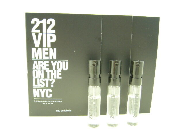 Carolina Herrera 212 VIP For Men EDT 1.5ml / 0.05 oz Spray Vial x 3 PCS *NEW*