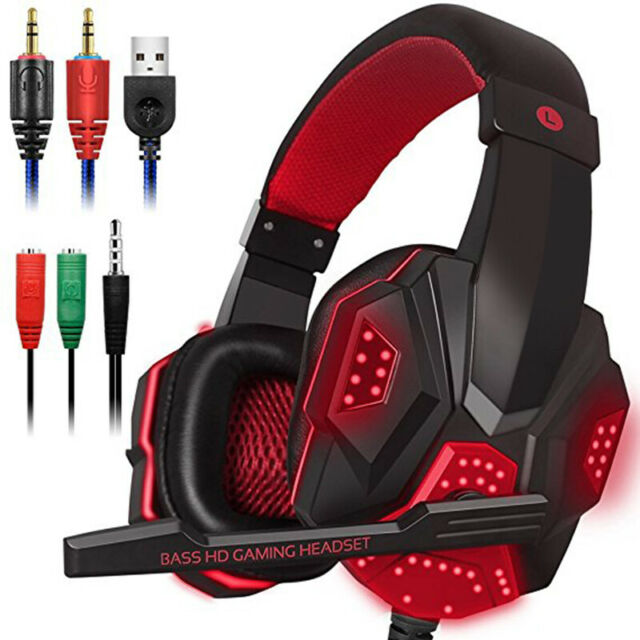 USB Stereo PC Gaming Headset Wired Headphone With Microphone Laptop for PS4 PS3