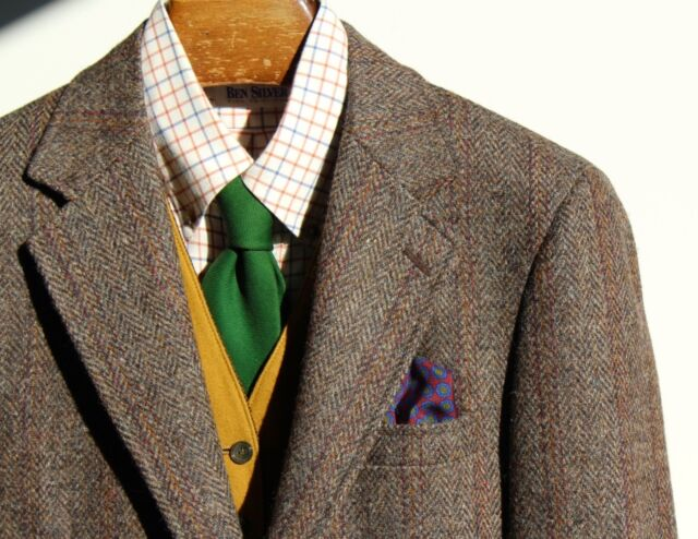 Vanjulian Gentleman's 40R Harris Tweed Olive Green 2-Button Wool Sport Coat- USA