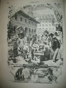 MARCHe-AUX-OISEAUX-PARIS-SAINT-HELENE-BRETAGNE-ROI-GRALLON-LISBOA-GRAVURES-1858