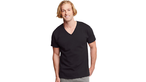 6 Hanes Classics Men/'s Traditional Fit ComfortSoft TAGLESS Dyed Black V-Neck T