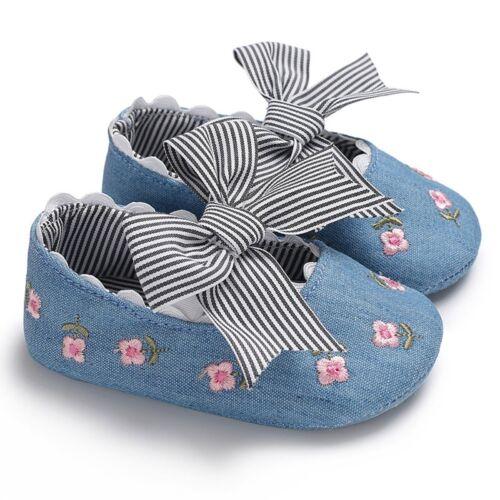 Newborn Baby Girl Bow Soft Crib Shoes Infant Anti-slip Sneakers Prewalker 0-18 M