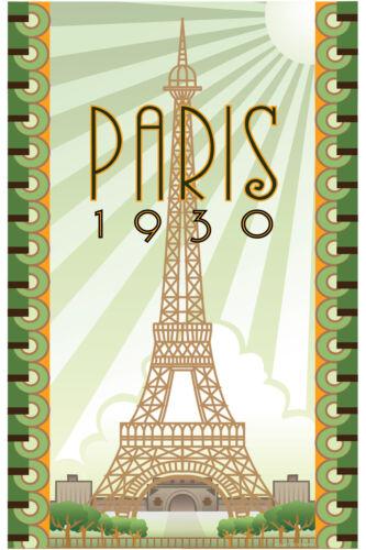 travel vintage paris 1930 print canvas or satin poster 700mm art painting