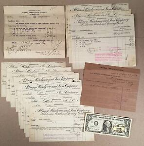 Albany-NY-1913-ALBANY-HARDWARE-amp-IRON-CO-Lot-of-14-Billheads-1-Credit-Memo