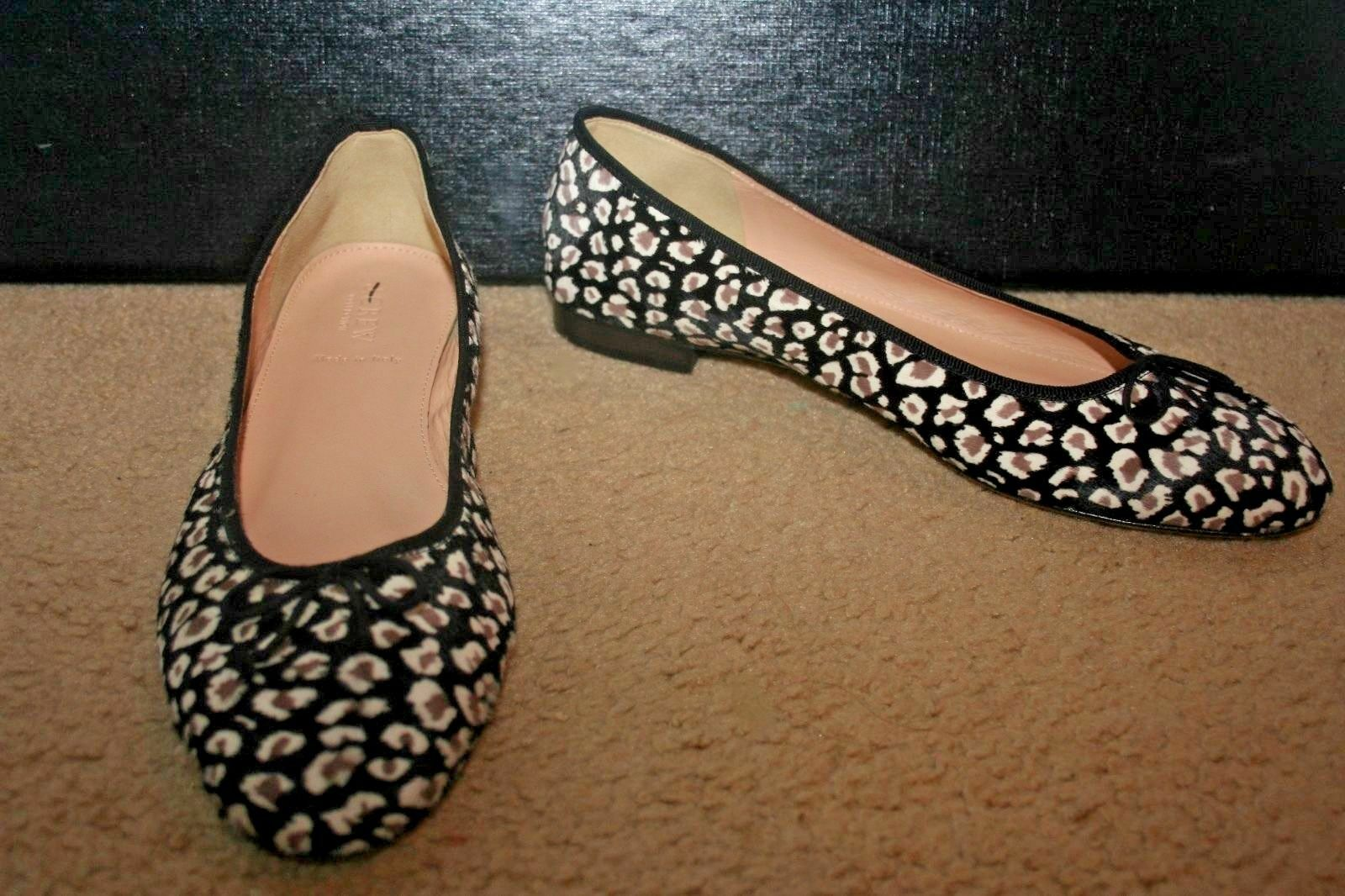 J.CREW COLLECTION FLATS KIKI LEOPARD CALF HAIR BALLET FLATS COLLECTION SIZE 9,5M GREY BROWN F5512 233995