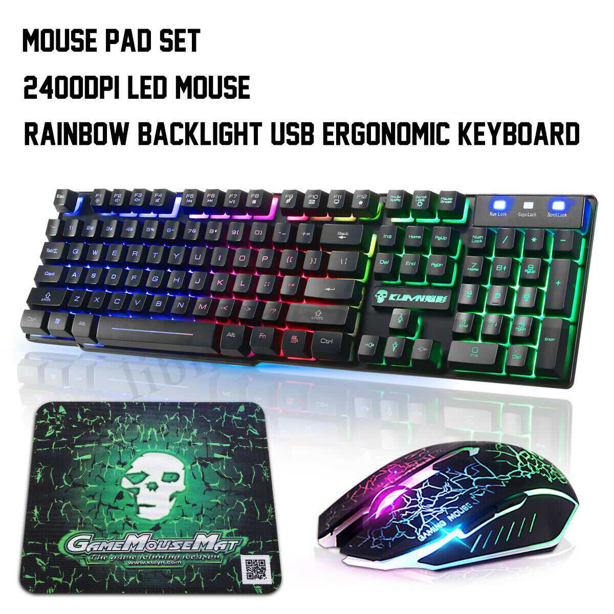 Rainbow Backlight T6 F5B Ergonomic Gaming Keyboard Mouse Set