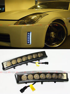 FOR-2003-2005-NISSAN-350Z-BUMPER-REFLECTOR-SMOKE-LENS-LED-DAYTIME-RUNNING-LIGHT