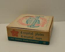 Hawaiian Dishes Glass Hawaiian Leaf Snack Set c1950 Original Box