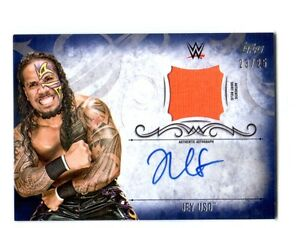 WWE-Jey-Uso-2016-Topps-Undisputed-Blue-Autograph-Relic-Card-SN-23-of-25