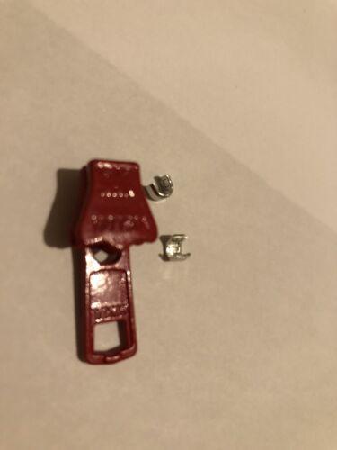 YKK NO-5 RED VISLON RUNNER//PULLER//SLIDER FOR PLASTIC MOLDED ZIP+2 FREE TOP STOPS