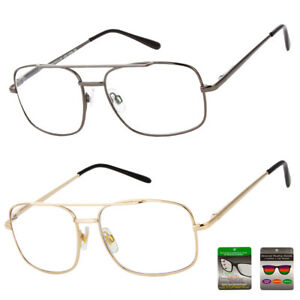 c9ddf3da07 Reading Glasses No Line Progressive Clear Lens Retro Aviator Frame ...