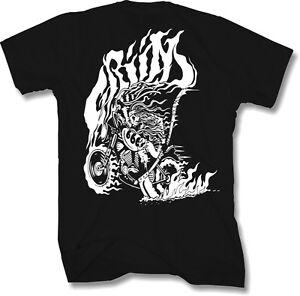 Mens-Biker-T-Shirt-Small-Metal-Gothic-Motorcycle-Harley-Skull-Reaper