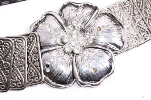 S399 Magnifique Argent Texturé plaques élastique Femmes Ceinture W Fleur Boucle