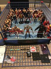 WWE Mattel Elite Basic Lot Of 27 Figures & Authentic Scale Ring + Classic Cage