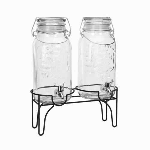2er Getränkespender Zapfhahn Glas Saftspender Glasbehälter 2 x 4L Ständer