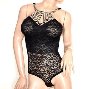 BODY-NERO-donna-top-maglietta-giromanica-sottogiacca-pizzo-ricamata-strass-G23