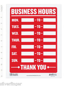 Business hours sign open mon sun write in from to times store office