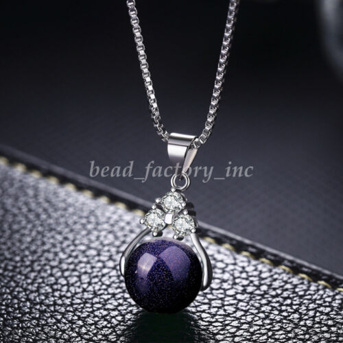Natural Quartz Crystal Round Gemstone Bead Pendant Silver Plated Chain Necklace