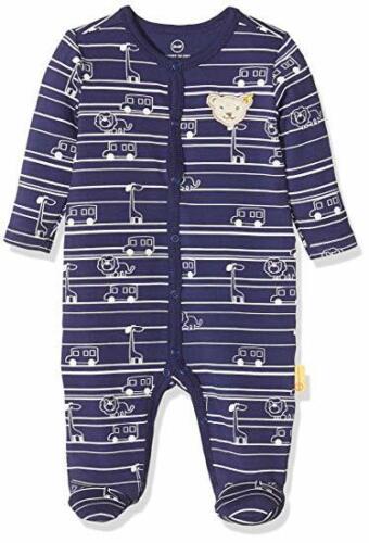 Steiff Baby Bodysuit Schlafanzug Strampler Tiere Autos blau 50 56 62 74 80