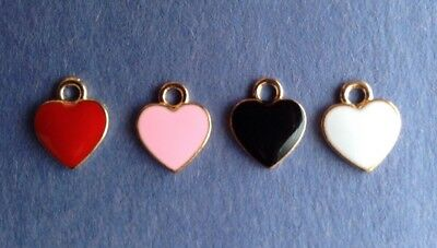 4pcs SCRAPBOOKING CRAFTS TINY WHITE ENAMEL ❤️HEART❤️CHARMS 10mm JEWELRY