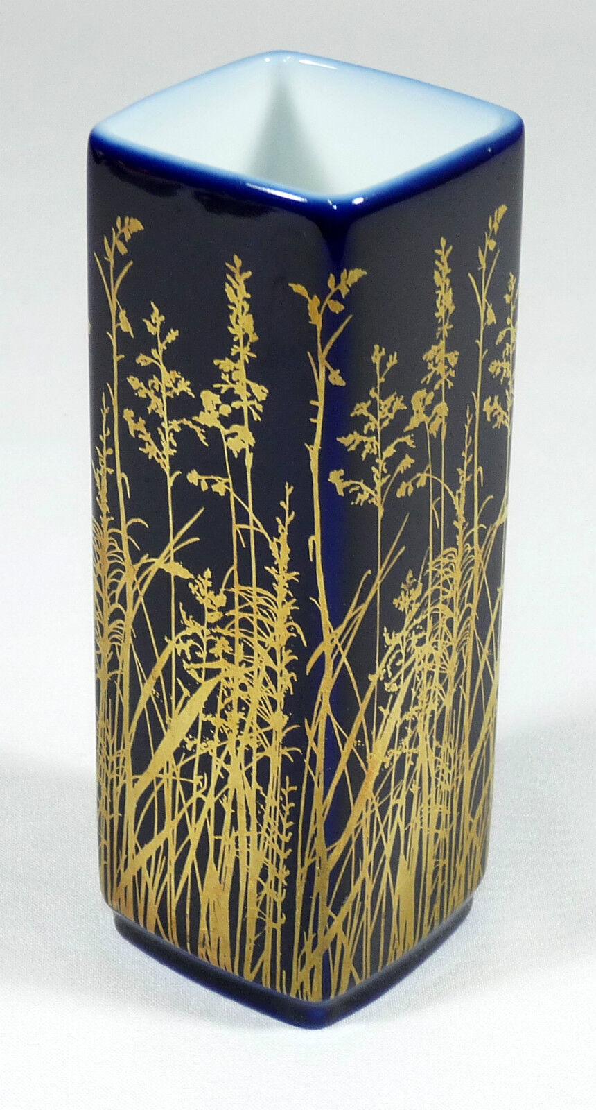 GEROLD PORZELLAN - 10cm gr. VASE Blaumenvase Designervase - KOBALT-BLAU Gold