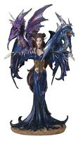 Blue Fairy With Two Dragons Medieval Fantasy Figurine Pixie Decoration