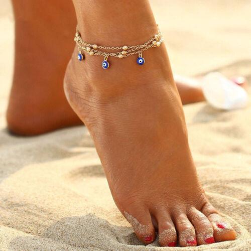 Beach Party Cadeaux vente chaude Mauvais Oeil Pendentif En Métal Perles Oeil maléfique cheville chaîne