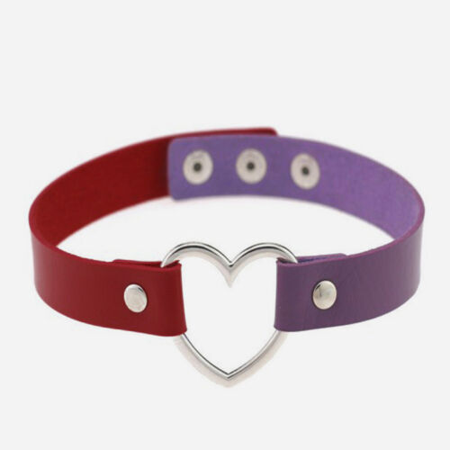 Harajuku Punk Funky Goth Ring Leather Collar Choker Necklace Heart