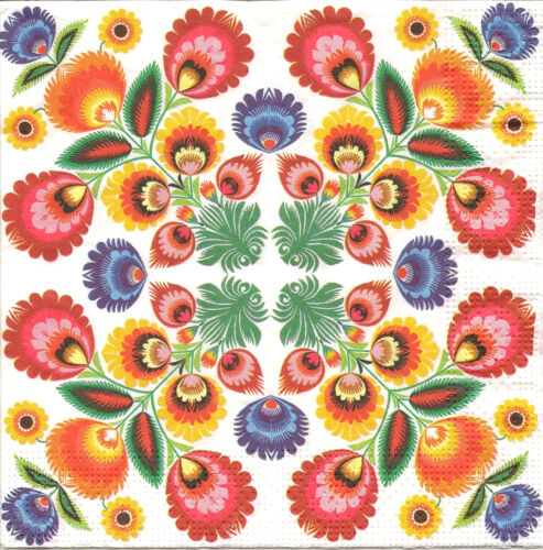 4 Single Paper Table Napkins for Decoupage Traditional Lowicz