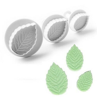 New 3pcs Leaf Fondant paste Cake Decorating Sugarcraft Plunger Cutters Tools #T