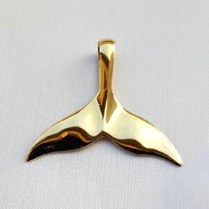 Solid 14k Yellow Gold and Textured Mini Whale Tail Charm Pendant 15mm x 13mm