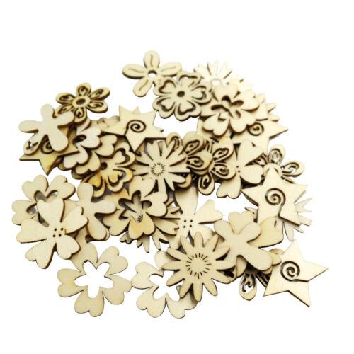 Prettyia 50 Wood Laser Cut Flower Ornament Home Decor Hanging Tags Craft DIY