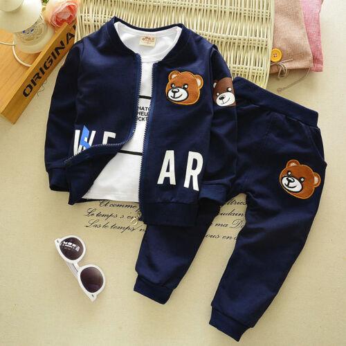 pants Bear 3pcs Kids Baby clothes boys clothes outfits /& set Top coat+T shirt