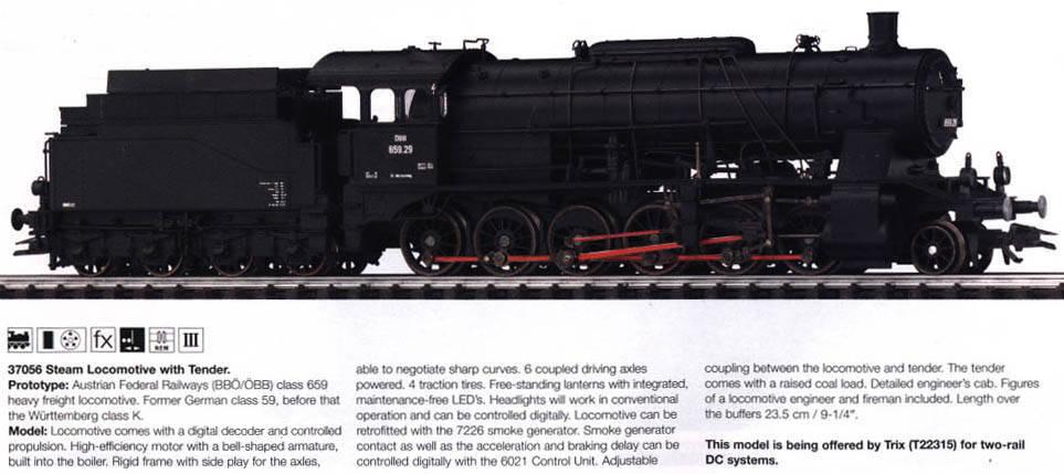 Marklin HO MOHI NOS 37056 Digital BBO OBB Class 659 Steam Locomotive    2004