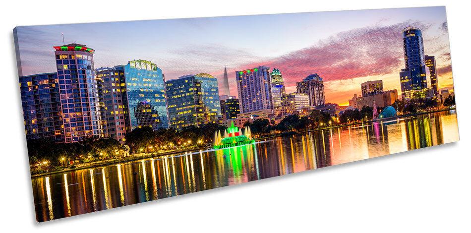 ORLANDO FLORIDA FLORIDA FLORIDA SKYLINE tramonto CANVAS Wall Art Panorama incorniciato stampa 117c20