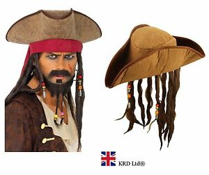 8476f519231 ADULT PIRATE HAT WITH DREADLOCKS Hair Caribbean Pirate Captain Fancy ...