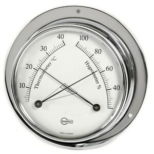 Kabinenausrüst<wbr/>ung Thermometer / Hygrometer analog Barigo Tempo Chrom