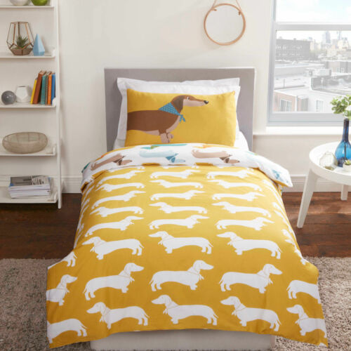 Sausage Dog Reversible Novelty Duvet Quilt Cover Bedding Set with pillowcases