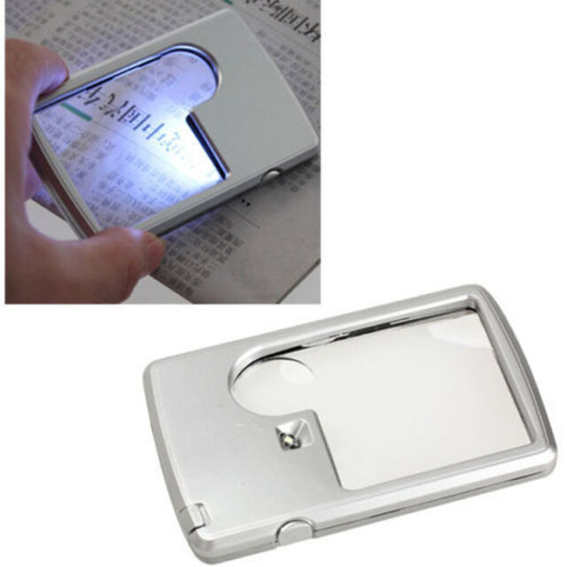 Credit Card 88 * 57 * 9 mm LED Loupe Magnifier with Light Leather Case Brand HOT