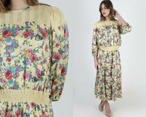 Vintage 80s Diane Freis Fres Dress Yellow Floral B