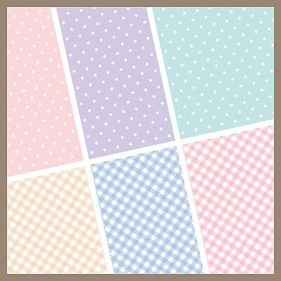 exclusive 48/ 24pc pastel polka dot checker scrapbook paper 6 design